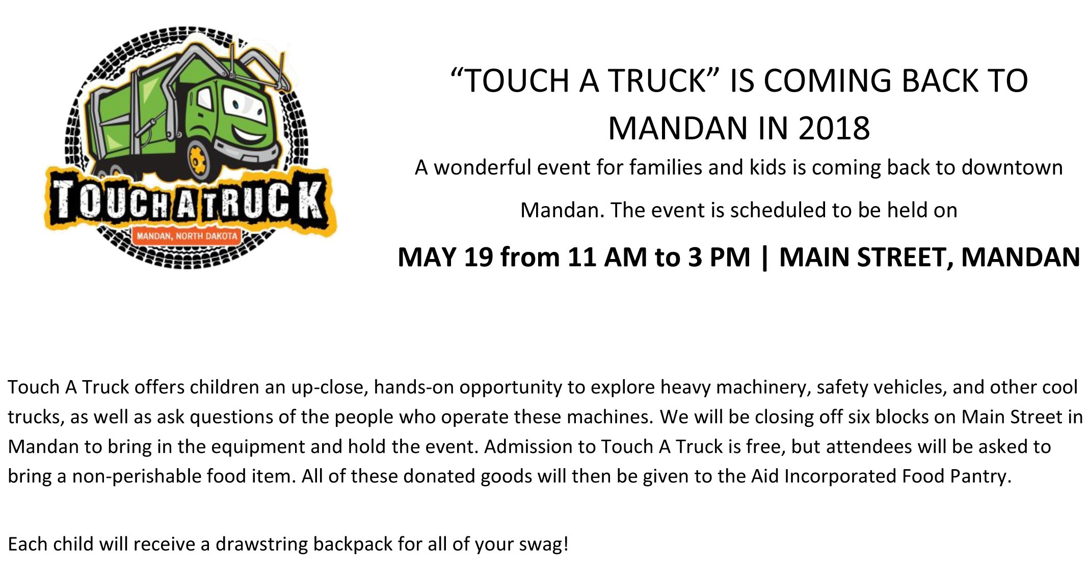 Touch a Truck - May 19th, 2018
